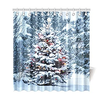 amazon com interestprint snow covered christmas tree brightly home