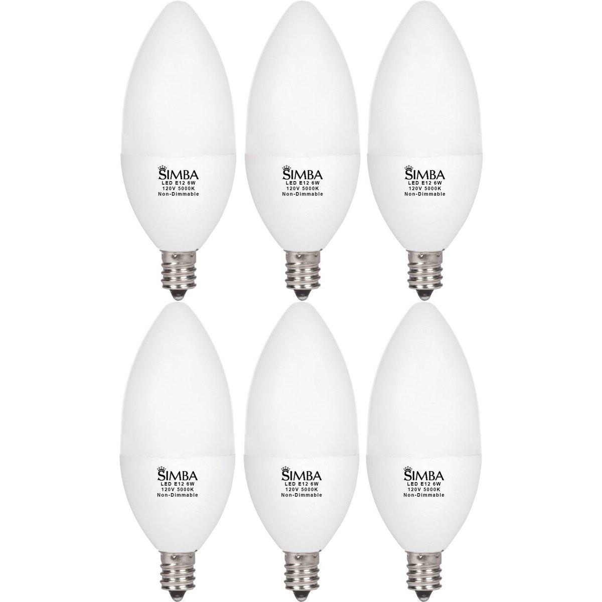 Led Chandelier Bulbs: 6 LED Candelabra Base Chandelier Bulb Light Bulbs E12