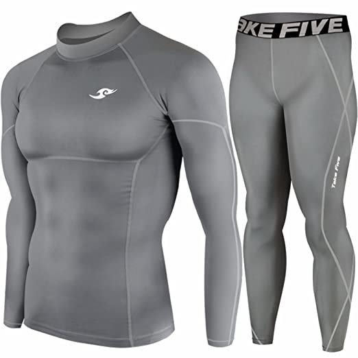 67c8f155a6a79 Mens Sports Compression Base Layer Skin Tights Long Sleeve Top & Pants Gray  SET (S