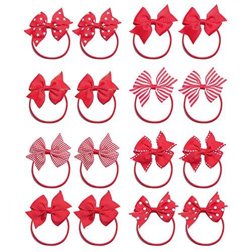 KOONY Baby Girls Hair Bow Elastic Ties Ponytail Holders Hair Bands 16pc ()