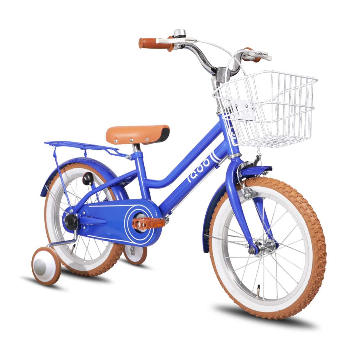 IQOO 子供自転車 3、4、5、6歳 男の子 女の子 14インチ 16インチ 幼児用自転車 レトロ可愛い お誕生日プレゼント プリン 可愛い カゴ ベル 補助輪付き おしゃれ ガール ボーイズ ユニセックス ピンク ブルー グリーン ブルー 16インチ