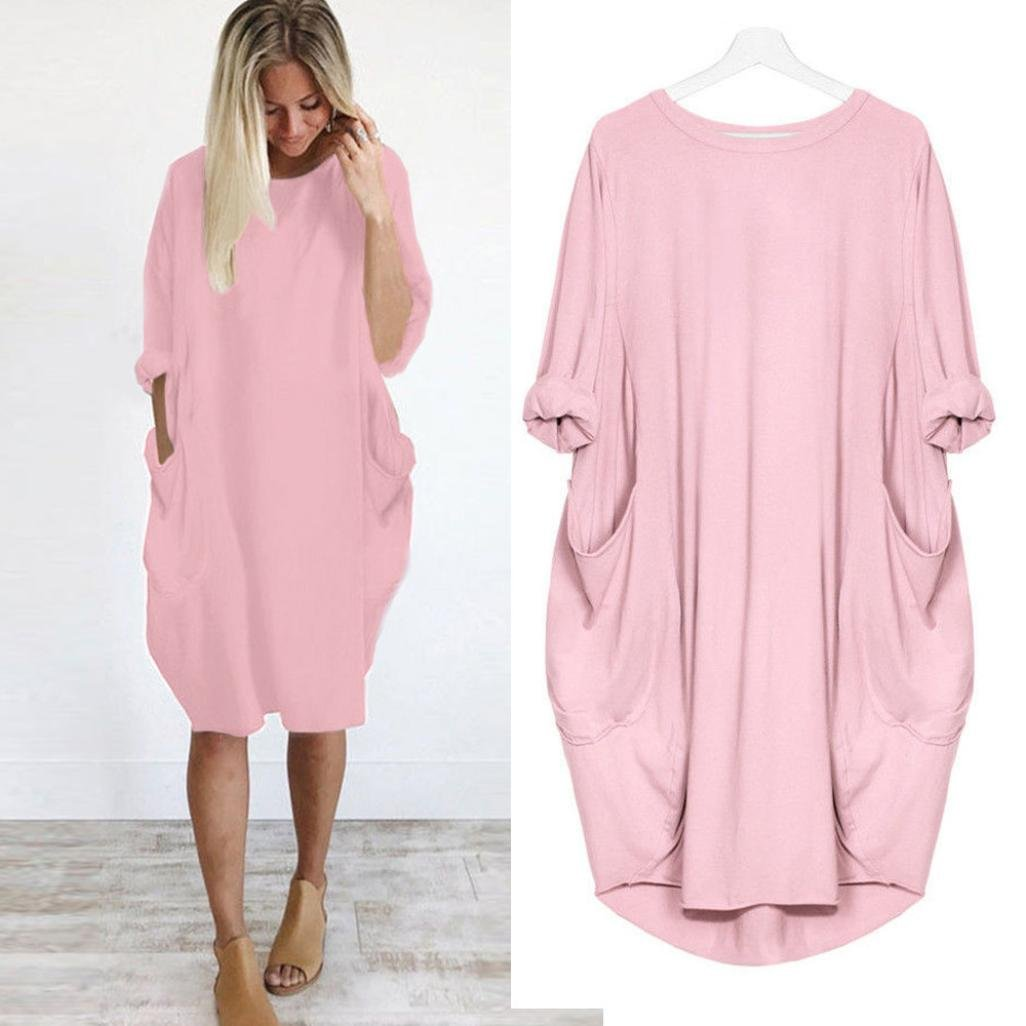 Womens Loose Dress, Fashion Casual Ladies Crew Neck Long Sleeves Long Tops Autumn Brief Cotton Dress With Big Pockets (M, Pink)