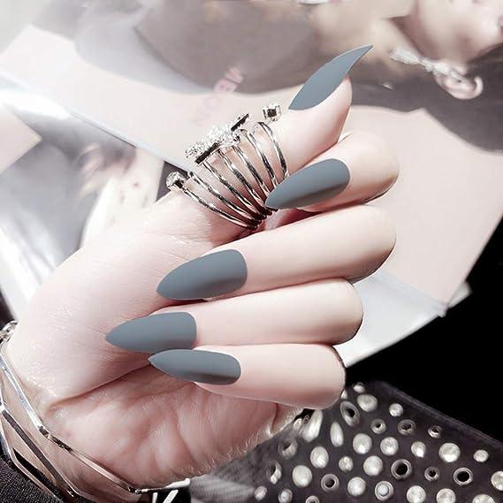24 piezas de uñas postizas mate con cubierta completa para manicura, puntas de uñas puntiagudas: Amazon.es: Belleza