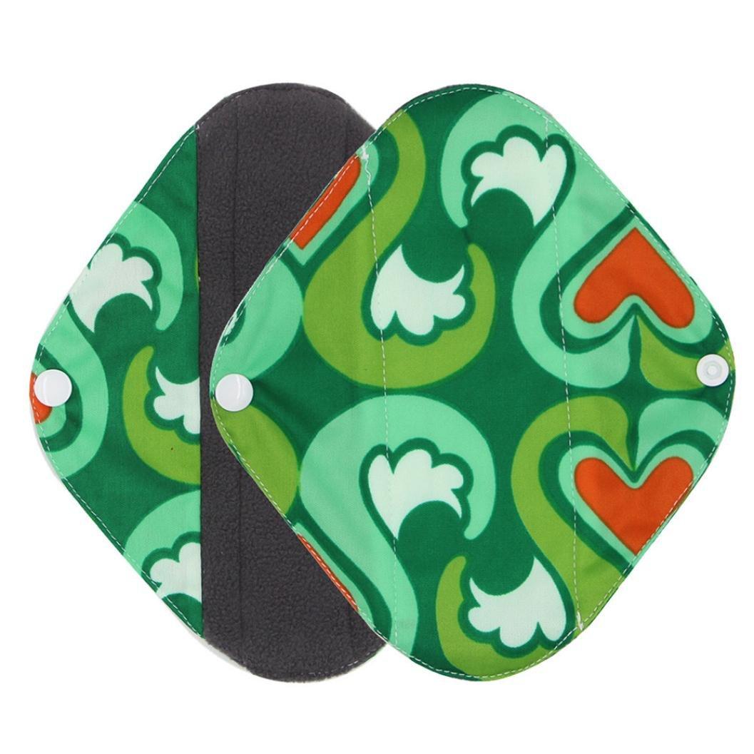 Sikye Cloth Menstrual Panty Pad Bamboo Charcoal Mama Sanitary Towel Pad Washable Reusable (Green, S)