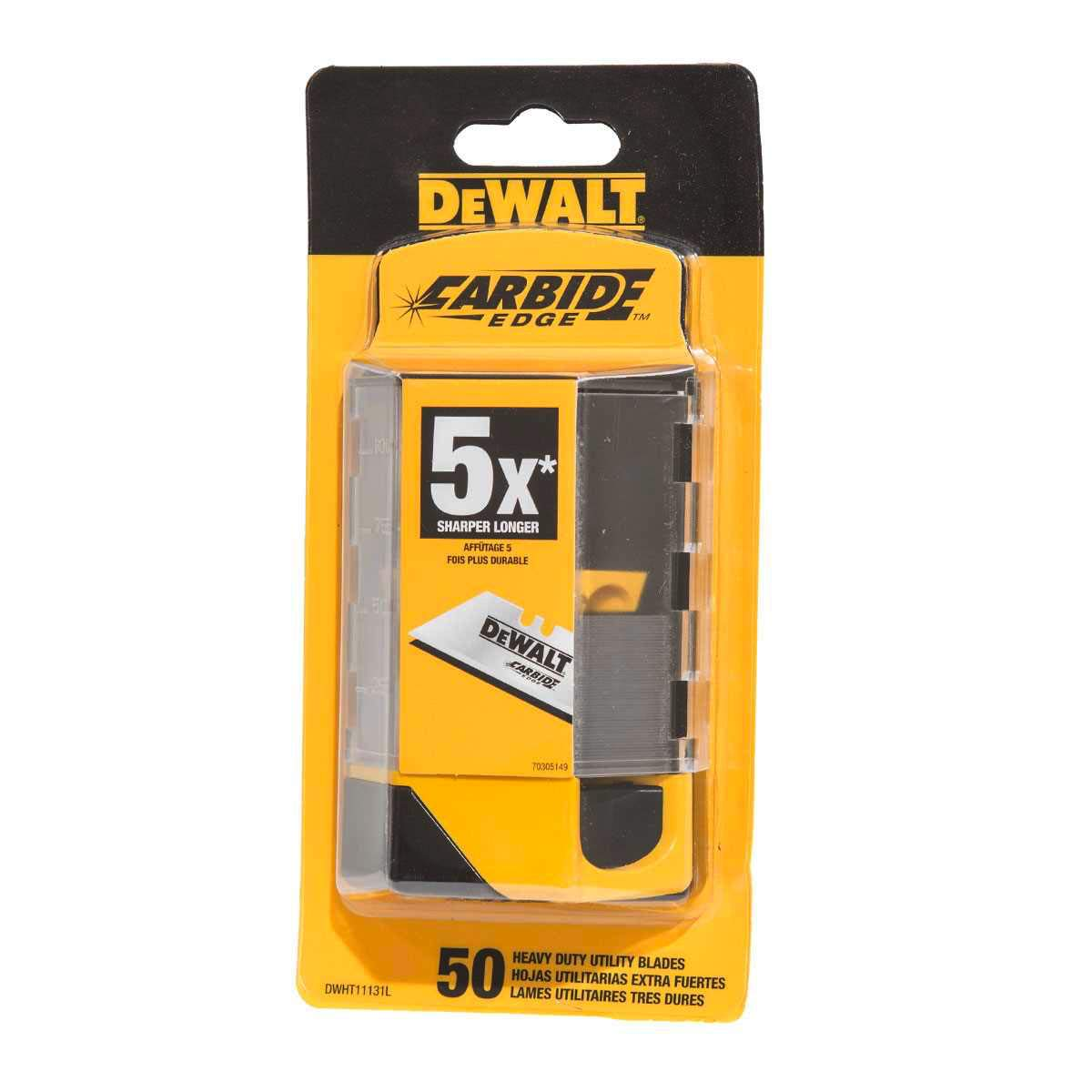 DeWalt Carbide Edge Utility Knife Blades - Last 10x Longer (50-Pack)