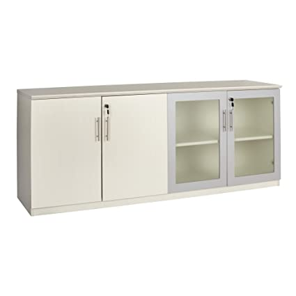 Mayline MVLCTSS Medina Low Wall Cabinet With 2 Wood And 2 Glass Doors,  Textured Sea