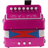 Flameer High Quality Children Kids 7 Button Accordion Musical Instrument Toy Fuschia