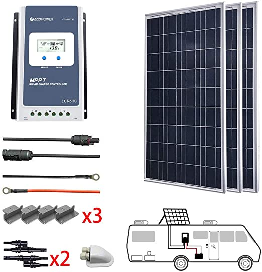 ACOPOWER 300 Watts 12/24 Volts Polycrystalline Panel Solar RV Kits with 30A  MPPT LCD Charge Controller/Mounting Brackets/Y Connectors/Solar  Cables/Cable Entry housing : Garden & Outdoor - Amazon.com