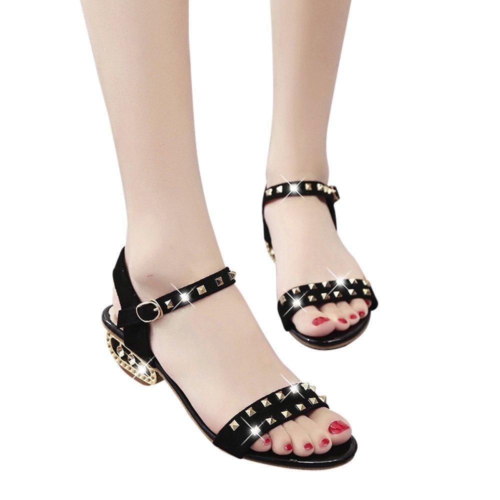 FORUU Women's Casual Sandals Female Pretty Rivet Decoration Med-Heeled Shoes (41, Black)