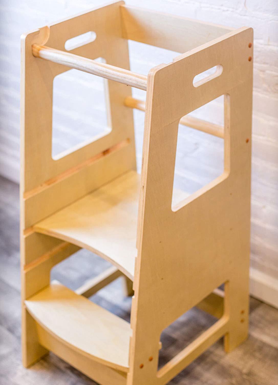 Kidzwerks Child Standing Tower - Child Kitchen Helper Step Stool with Adjustable Standing Platform - Wooden Montessori Learning Tower - Kid's Step Stool ReadyWerks 201816