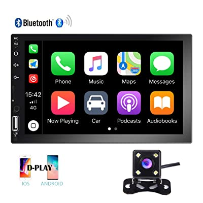 Hikity Double Din Car Stereo 7 Inch HD Touch Screen Radio Bluetooth FM Receive with USB/AUX-in/SD Card Input Support Mirror Link D-Play for Android iOS Phone + Backup Camera & Remote Control: Home Audio & Theater