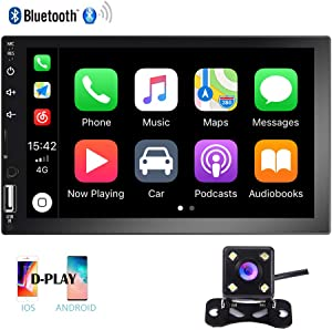 Hikity Double Din Car Stereo 7 Inch HD Touch Screen Radio Bluetooth FM Receive with USB/AUX-in/SD Card Input Support Mirror Link D-Play for Android iOS Phone + Backup Camera & Remote Control