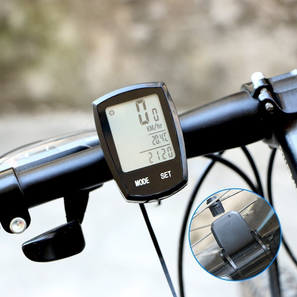 Thorfire Bike Computer Wireless, Bicycle Speedometer and Odometer Waterproof Cycle Computer with LCD Backlight Display, Automatic Wake-up, Multi-Functions
