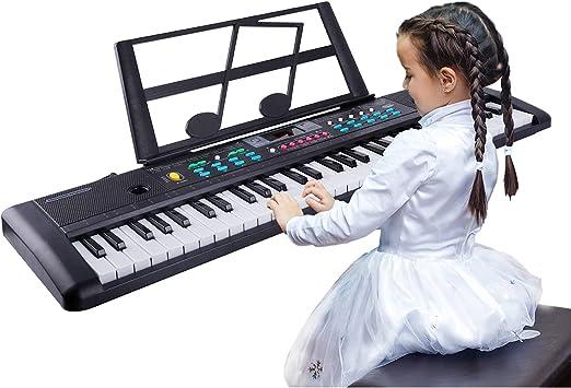 TWFRIC - Piano para niños (61 teclas, piano de música), teclado de piano electrónico con micrófono para niños de 3 a 10 años, niños principiantes