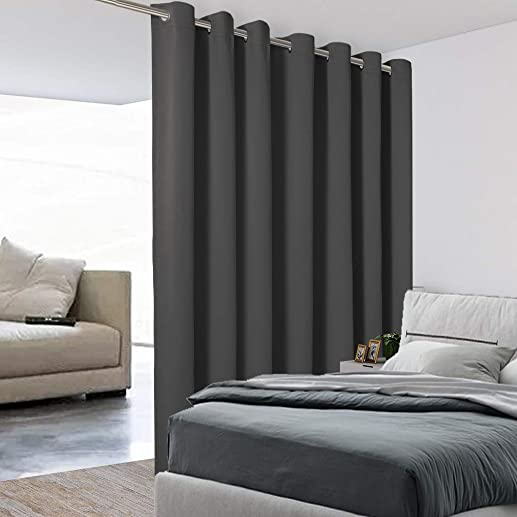 BONZER Extra Wide Room Divider Curtain Total Privacy Wall Grommet Top Thermal Insulated Blackout Curtain