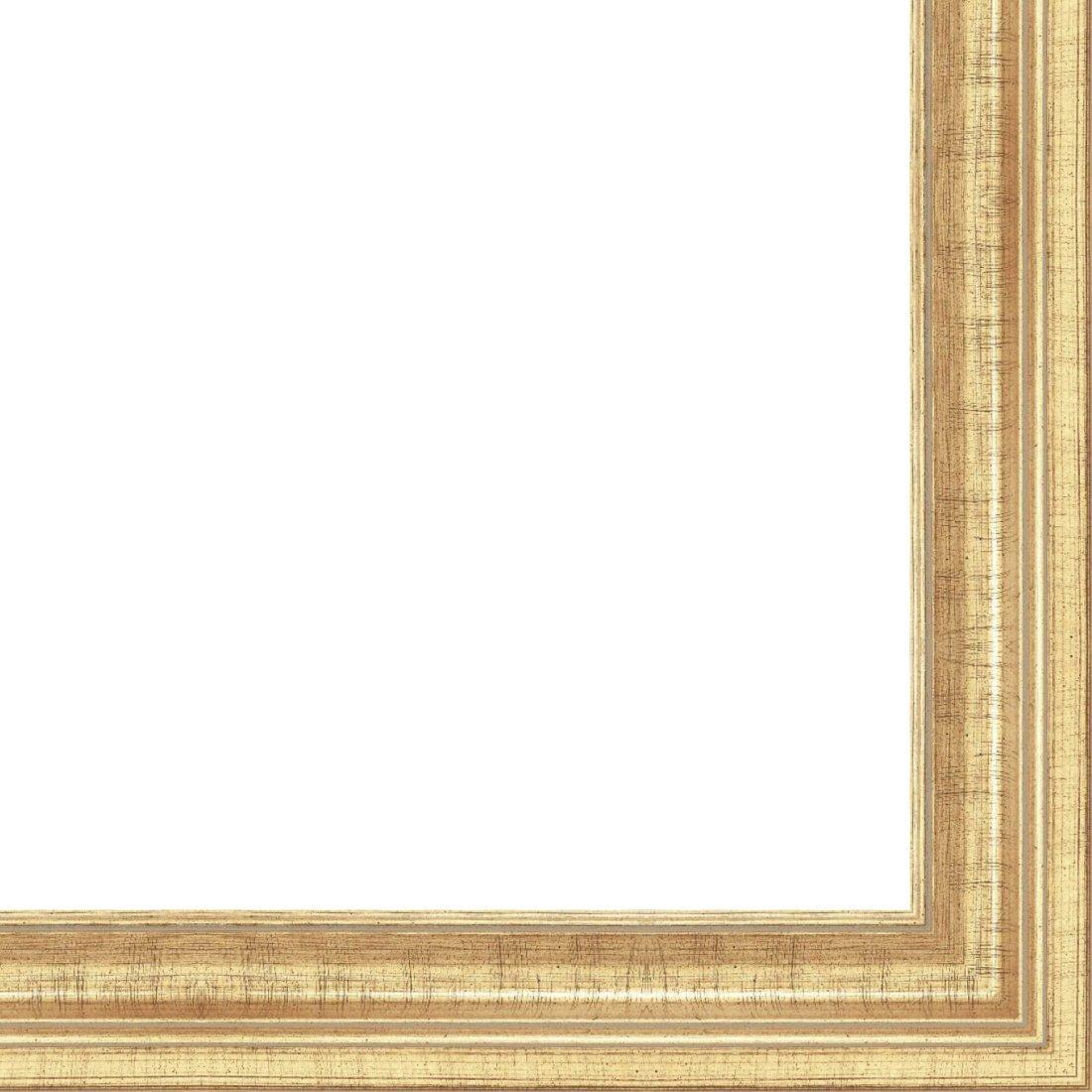 Picture Frame Moulding (Wood) 18ft bundle - Traditional Antique Gold Finish - 2.25'' width - 9/16'' rabbet depth