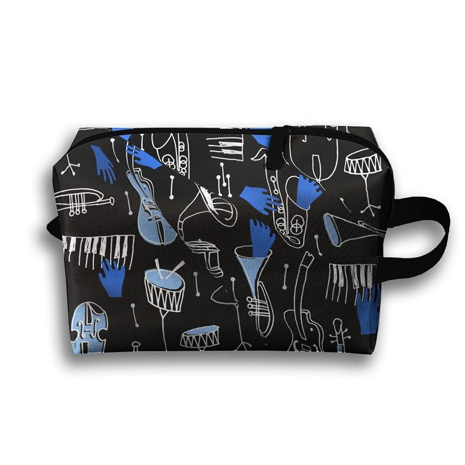 Cool Musical Instruments Stylistic Features Travel Bag Cosmetic Bags Brush Pouch Portable Makeup Bag Zipper Wallet Hangbag Pen Organizer Carry Case Wristlet Holder