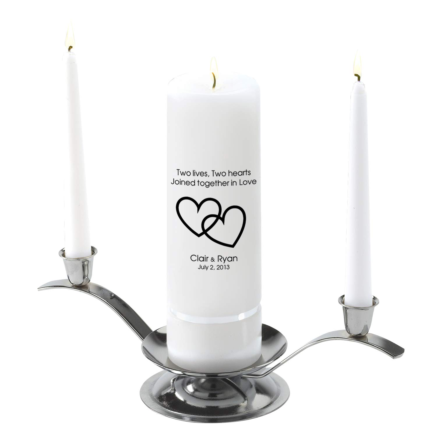 Personalized Unity Wedding Candle Set - Personalized Wedding Candle Set - Includes Stand- Two Lives Two Hearts by A Gift Personalized