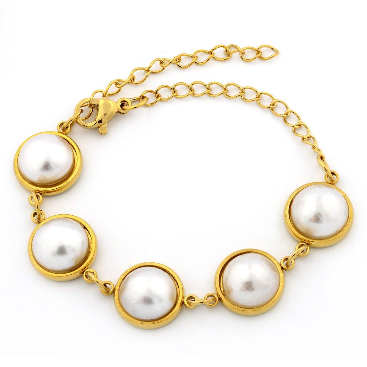 18-Karat Gold-Plated Stainless Steel Adjustable Bracelet & Anklet. (Cream)