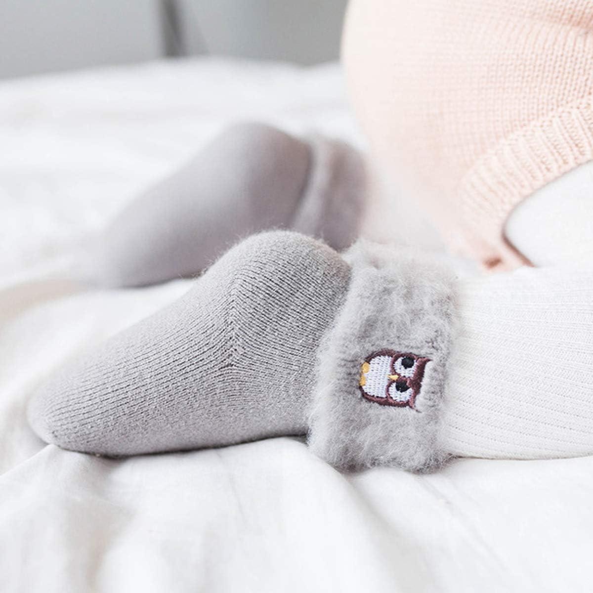 Adorel Chaussettes Chaudes Hiver Coton B/éb/é Fille Lot de 4