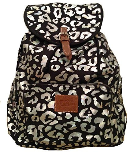 Victoria's Secret PINK Backpack School Handbag Book Bag Iridescent Leopard Print
