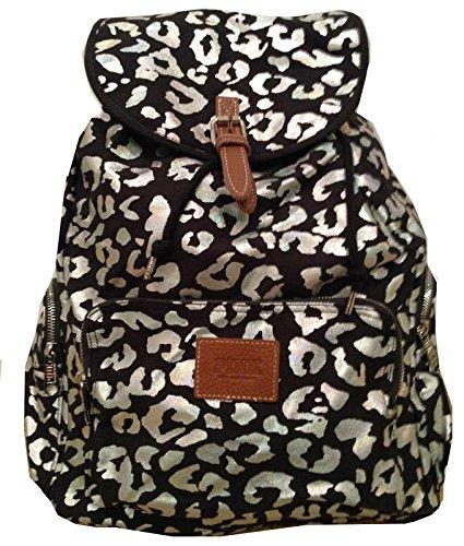 Victoria's Secret PINK Backpack School Handbag Book Bag Iridescent Leopard Print (Drawstring Purse Handbag Print)