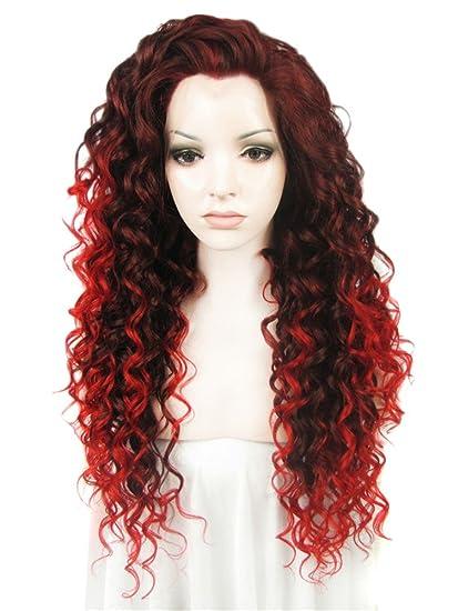 Imstyle Peluca de Encaje Frontal,Color Rojo y Negro Mixto,Pelo Rizado Ondulado,