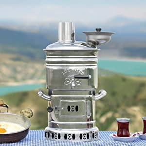 Tubibu Samovar Free Energy Water Heater 4L /150 Oz Semaver Samavar Boat Camping Hiking Hunting Yachting Tea Kettle (4 LT)