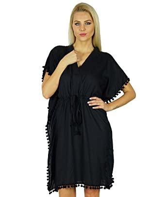 c002812efe Bimba Women Cotton Kaftan with Pom Pom Tassels Short Caftan Beach Coverup  Black  Amazon.co.uk  Clothing