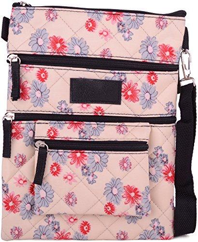 Beige Body Bag Floral Womens Pouch Travel Design Cross Shoulder Ladies qxzUnBX0wB