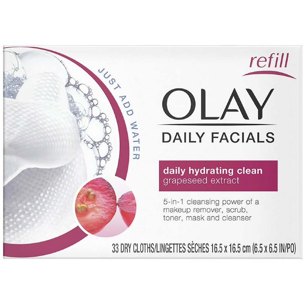 OLAY Daily Facial Hydrating Cleansing Cloths with Grapeseed Extract, Makeup Remover 33 ea (Pack of 12)