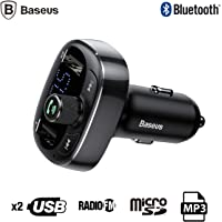 Baseus T typed S-09 Bluetooth FM Transmitter Çift Usb Araç Şarj Aleti SİYAH