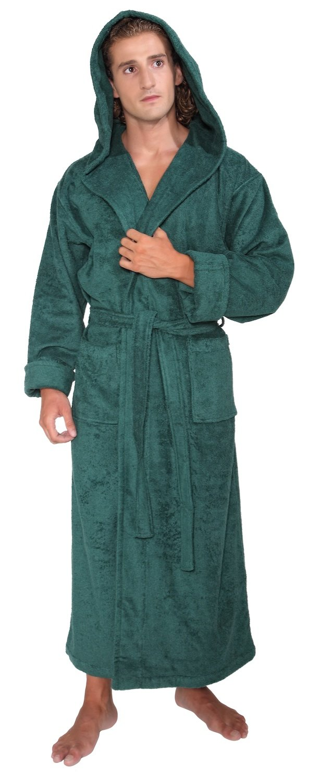 Arus Men's Hood'n Full Ankle Length Hooded Turkish Cotton Bathrobe XL Hunter Green