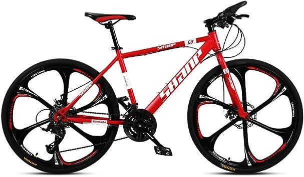 AUTOKS Bicicleta de montaña, suspensión Delantera de 26 Pulgadas ...
