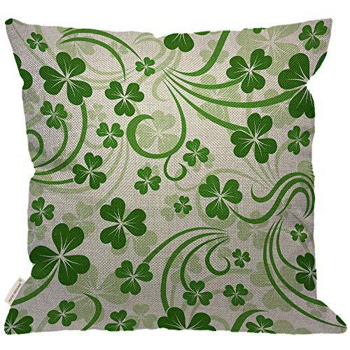 Throw Irish Cotton (HGOD DESIGNS Saint Patrick Day Shamrock Throw Pillow,Abstract Curve Flower Cloverleaf Lucky Irish Decorative Couch Sofa Bedroom Burlap Pillow Cases for Men/Women/Kids/Girls/Children Room 18x18 Inch)