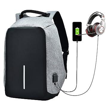 47b90e38b4 Sac à Dos avec USB Portable Headphone Port Ordinateur Antivol Dos pour  Homme Femme de Voyage