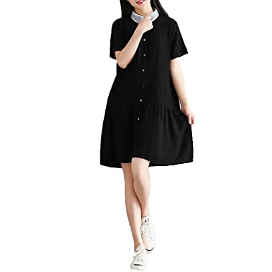 f302b9db28 Loose Art Cotton and Linen Dress Shirt Collar Short Sleeve College Wind in  The Long Skirt at Amazon Women s Clothing store