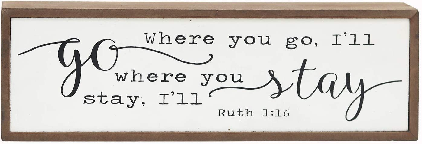 """No/Brand Mini Wood Block Sign with Love Quotes - Where You Go I Will Go Where You Stay I Will Stay, Farmhouse Style Freestanding Wood Box Sign, Vintage Wall Decor, 11-7/8""""W X 3-7/8""""H X 1-1/2""""D"""