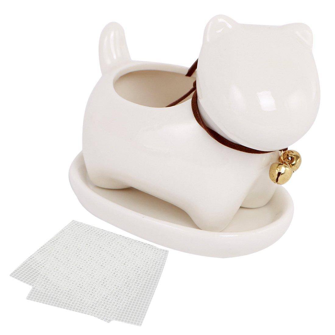 Happy Bonsai Small Ceramic Dog, Succulent Planter Pot, Saucer + 2 Mesh Screens