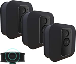 [3 Pack] Silicone Skin for Blink XT/XT2 Security Camera-MOFAD Silicone Case for Brink Home Security - Anti-Scratch Protective Cover for Full Protection - Indoor Outdoor Best Home Accessories (Black)