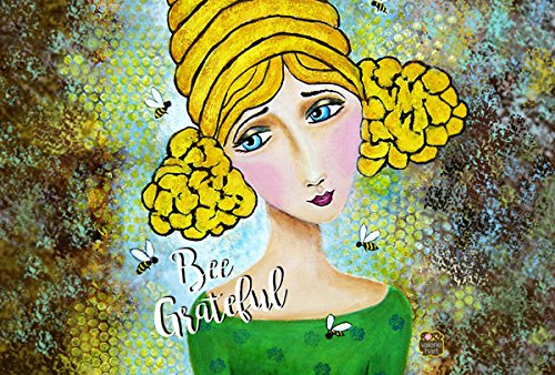 Carolines Treasures VHA3008PLMT Bee Grateful Girl With Beehive Fabric Placemat Multicolor