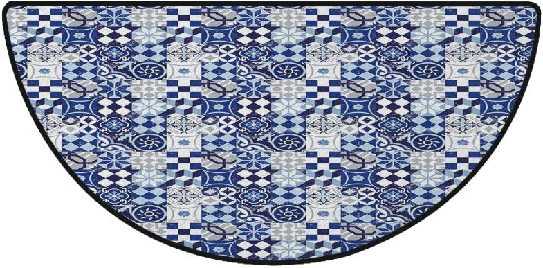 36 x 72 Half Round Door Mat,College Celebration Ceremony Certificate Diploma Square Academic Cap Outdoor//Indoor Entry Rug,for Home Kitchen Office Standing Desk Mats,Blue White