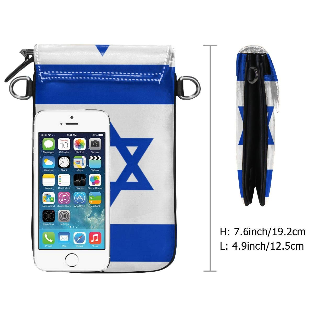 Fghfgh4ghghf Flag of Israel Cell Phone Purse Women PU Leather Multicolor Handbag with Credit Card Slots