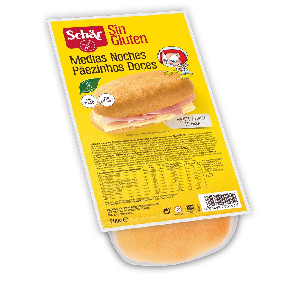 Dr. Schar Medias Noches Pan dulce SIN GLUTEN - Paquete de 4 ...