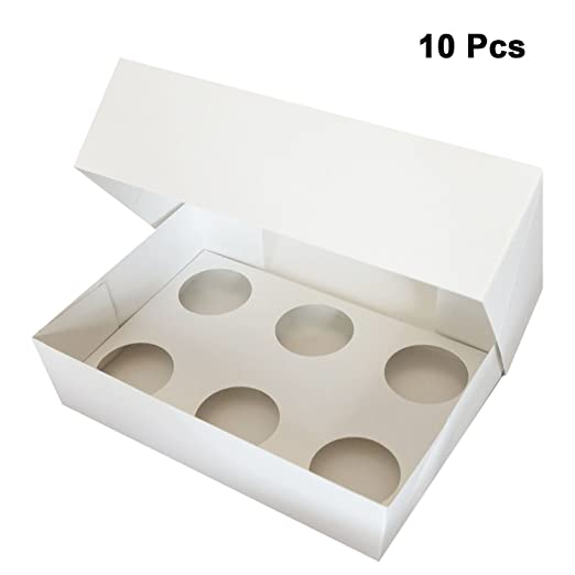 Kurtzy Cupcake Box- Cajas para cupcakes 10 Pcs - 6 agujeros Cupcake Caja - Muffin box para transportar Cupcakes de cumpleaños, fiesta o boda: Amazon.es: ...