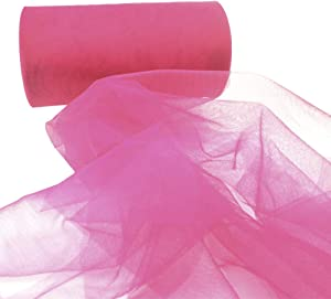Rose Tulle Roll Spool for Wedding Engagement Birthday Baby Shower Party Decorations Girl Tutu Table Skirt Gift Craft(Rose, 6-Inch by 50-Yard)