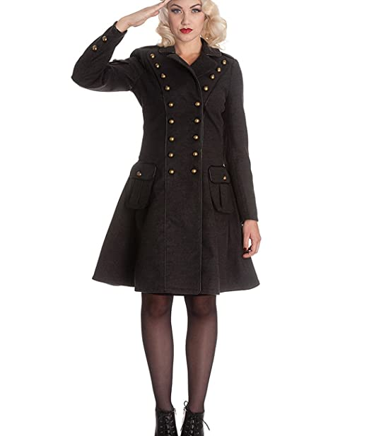 Hell Bunny imma Retro Coat Estilo Militar - Abrigo de Military Vintage Mujer Gris hasta 4 x l Gris X-Small: Amazon.es: Ropa y accesorios