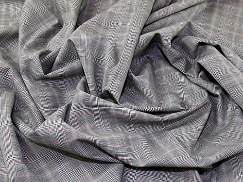 English 100% Wool Plaid Weave Suiting Dress Fabric Grey & Coral - per metre