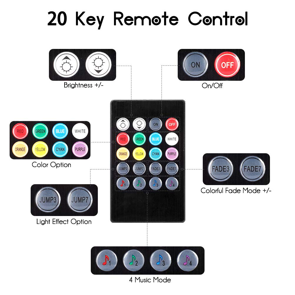 4 morceaux de 48 bandes LED multicolores pour voiture de musique feux avec son actif et t/él/écommande /Éclairage int/érieur de voiture Haofy port USB et chargement de la voiture