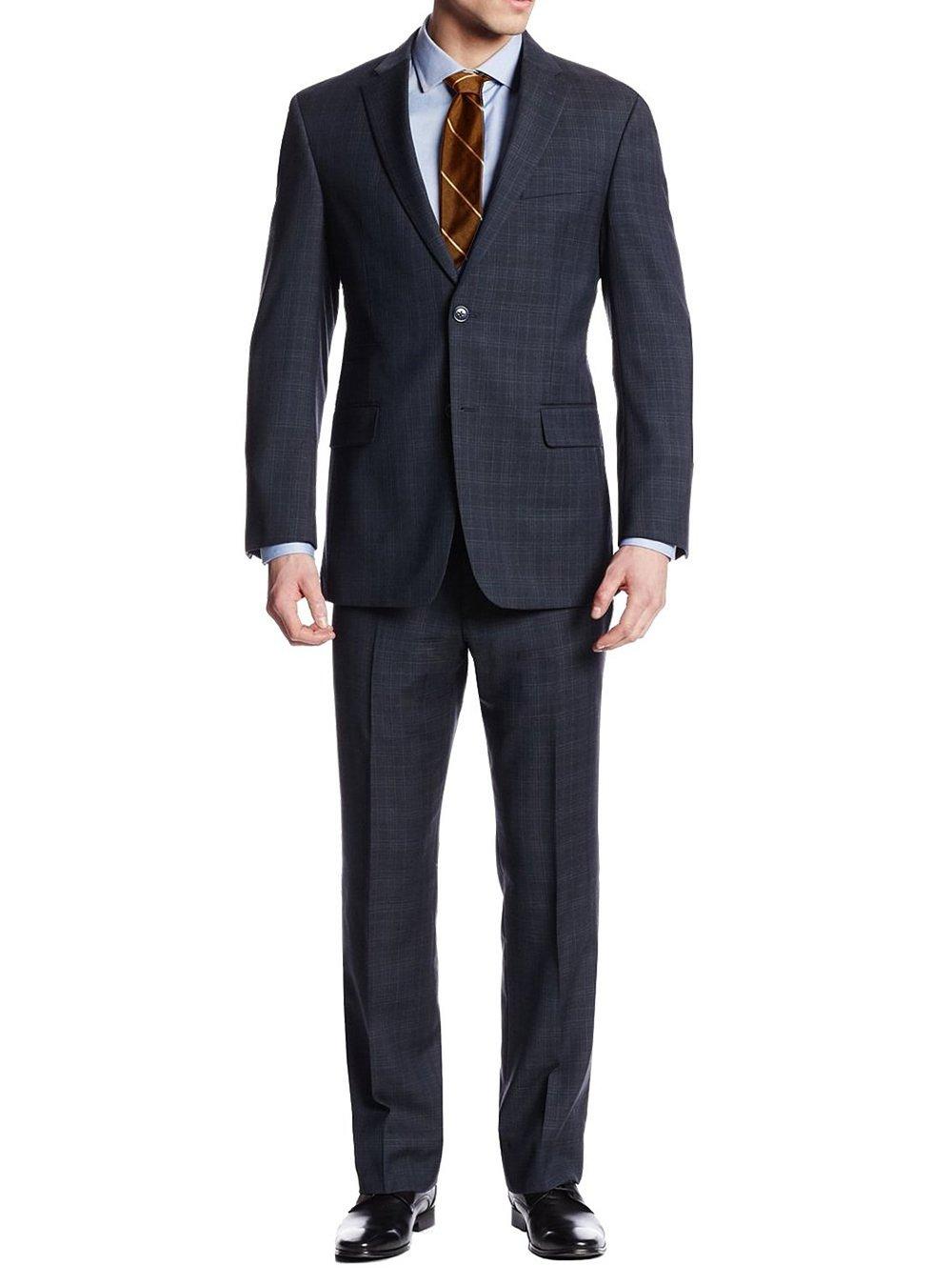 Luciano Natazzi Men's 2 Button Nathan Plaid Suit Trim-Fit Jacket Flat Front Pant (44 Long US / 54L EU / W 38'', Navy)